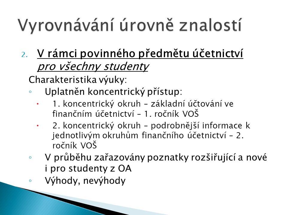 2. V rámci povinného předmětu účetnictví pro všechny studenty Charakteristika výuky: ◦ Uplatněn koncentrický přístup:  1. koncentrický okruh – základ