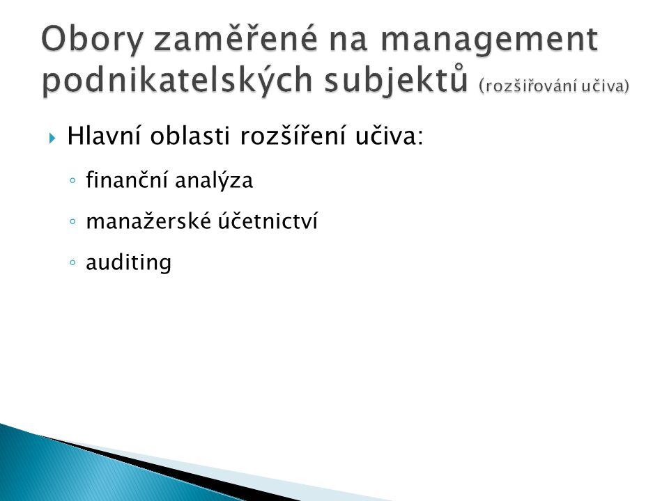  Hlavní oblasti rozšíření učiva: ◦ finanční analýza ◦ manažerské účetnictví ◦ auditing