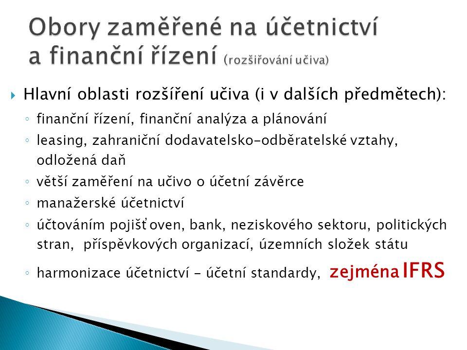  Hlavní oblasti rozšíření učiva (i v dalších předmětech): ◦ finanční řízení, finanční analýza a plánování ◦ leasing, zahraniční dodavatelsko-odběratelské vztahy, odložená daň ◦ větší zaměření na učivo o účetní závěrce ◦ manažerské účetnictví ◦ účtováním pojišťoven, bank, neziskového sektoru, politických stran, příspěvkových organizací, územních složek státu ◦ harmonizace účetnictví - účetní standardy, zejména IFRS