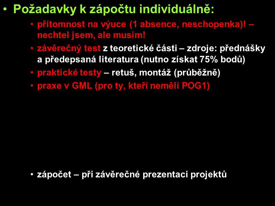 Požadavky k zápočtu týmově: přítomnost na výuce (1 absence, neschopenka).