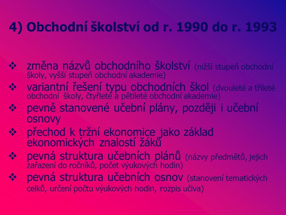 4) Obchodní školství od r. 1990 do r.