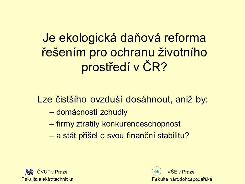 Fakulta národohospodářská Fakulta elektrotechnická VŠE v Praze ČVUT v Praze Je ekologická daňová reforma řešením pro ochranu životního prostředí v ČR.