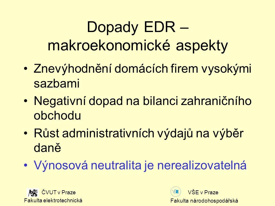 Fakulta národohospodářská Fakulta elektrotechnická VŠE v Praze ČVUT v Praze Dopady EDR – makroekonomické aspekty Znevýhodnění domácích firem vysokými sazbami Negativní dopad na bilanci zahraničního obchodu Růst administrativních výdajů na výběr daně Výnosová neutralita je nerealizovatelná
