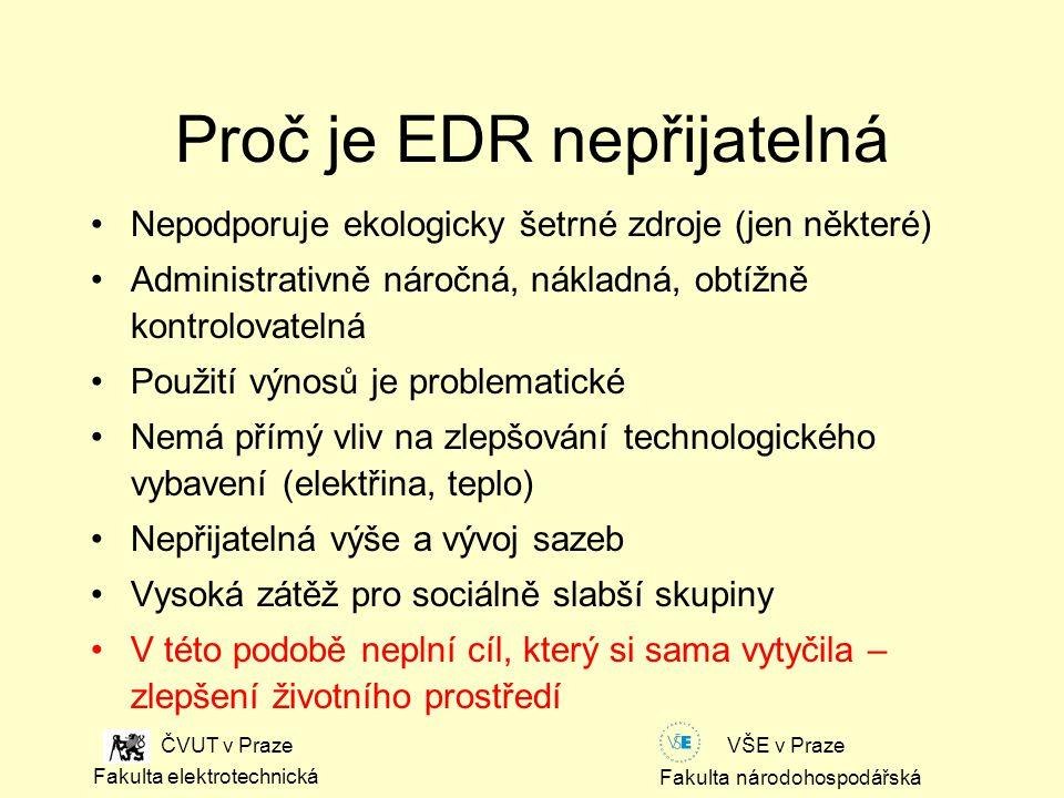 Fakulta národohospodářská Fakulta elektrotechnická VŠE v Praze ČVUT v Praze Proč je EDR nepřijatelná Nepodporuje ekologicky šetrné zdroje (jen některé) Administrativně náročná, nákladná, obtížně kontrolovatelná Použití výnosů je problematické Nemá přímý vliv na zlepšování technologického vybavení (elektřina, teplo) Nepřijatelná výše a vývoj sazeb Vysoká zátěž pro sociálně slabší skupiny V této podobě neplní cíl, který si sama vytyčila – zlepšení životního prostředí