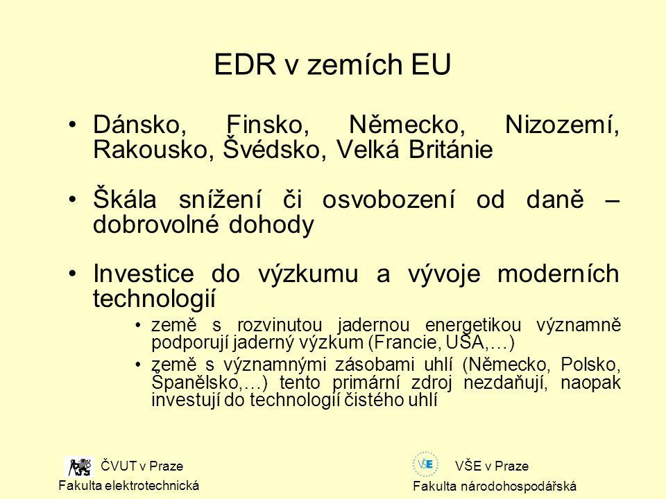 Fakulta národohospodářská Fakulta elektrotechnická VŠE v Praze ČVUT v Praze EDR v zemích EU Dánsko, Finsko, Německo, Nizozemí, Rakousko, Švédsko, Velká Británie Škála snížení či osvobození od daně – dobrovolné dohody Investice do výzkumu a vývoje moderních technologií země s rozvinutou jadernou energetikou významně podporují jaderný výzkum (Francie, USA,…) země s významnými zásobami uhlí (Německo, Polsko, Španělsko,…) tento primární zdroj nezdaňují, naopak investují do technologií čistého uhlí