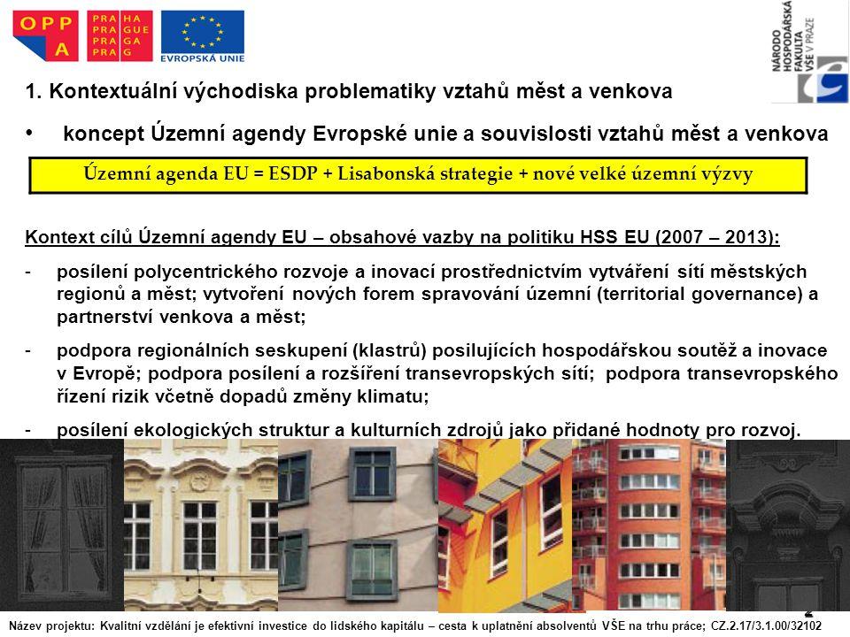 2 1. Kontextuální východiska problematiky vztahů měst a venkova koncept Územní agendy Evropské unie a souvislosti vztahů měst a venkova Kontext cílů Ú