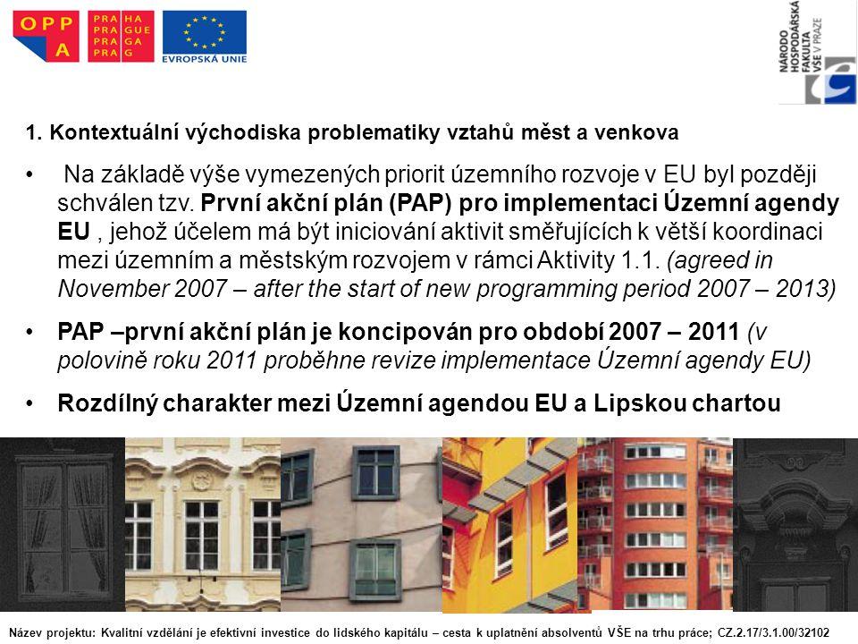 1. Kontextuální východiska problematiky vztahů měst a venkova Na základě výše vymezených priorit územního rozvoje v EU byl později schválen tzv. První