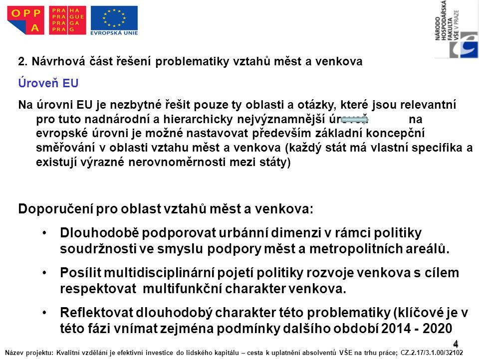 4 2. Návrhová část řešení problematiky vztahů měst a venkova Úroveň EU Na úrovni EU je nezbytné řešit pouze ty oblasti a otázky, které jsou relevantní