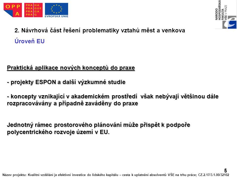 5 2. Návrhová část řešení problematiky vztahů měst a venkova Úroveň EU Praktická aplikace nových konceptů do praxe - projekty ESPON a další výzkumné s