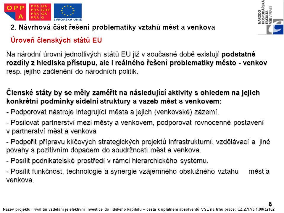 6 2. Návrhová část řešení problematiky vztahů měst a venkova Úroveň členských států EU Na národní úrovni jednotlivých států EU již v současné době exi