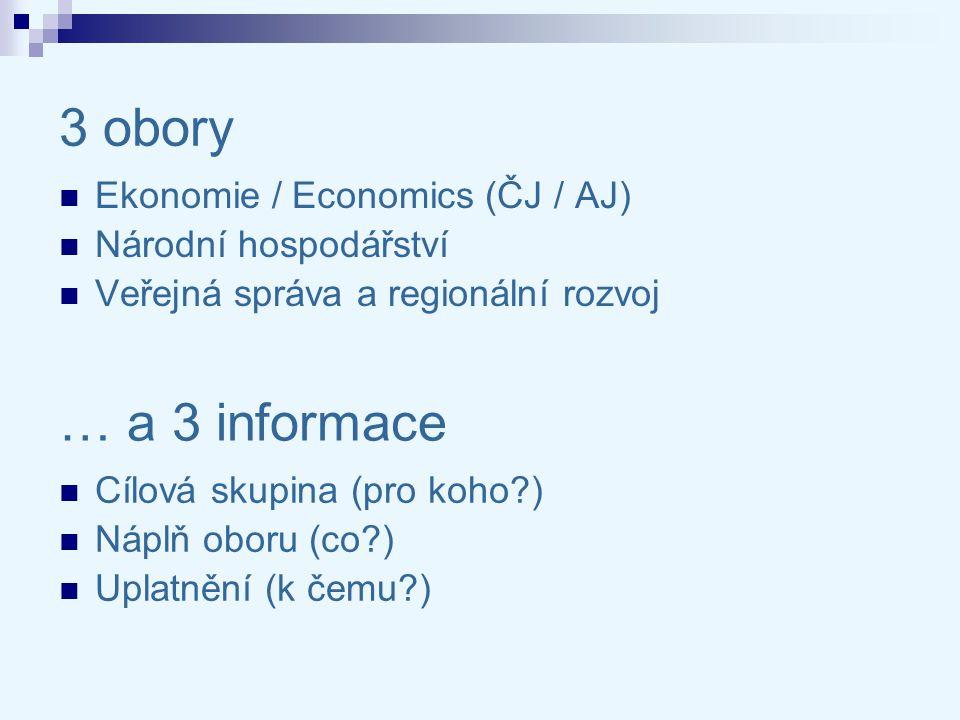 3 obory Ekonomie / Economics (ČJ / AJ) Národní hospodářství Veřejná správa a regionální rozvoj Cílová skupina (pro koho?) Náplň oboru (co?) Uplatnění