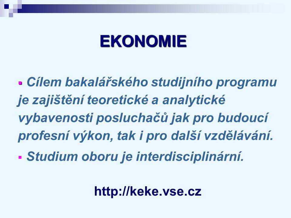 EKONOMIE EKONOMIE Náplň bakalářského studijního programu :  Mikroekonomie, makroekonomie, vývoj ekonomického myšlení  Ekonometrie a kvantitativní metody  Organizace trhů a odvětví  Teorie her  Matematika pro ekonomy aj.