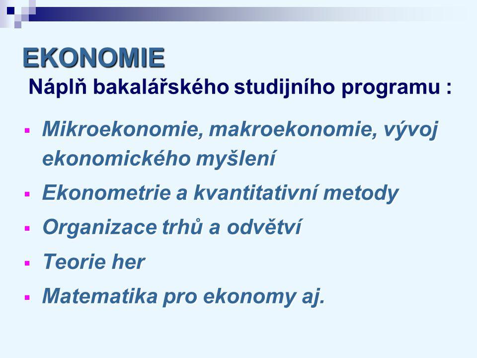 EKONOMIE EKONOMIE Náplň bakalářského studijního programu :  Mikroekonomie, makroekonomie, vývoj ekonomického myšlení  Ekonometrie a kvantitativní me