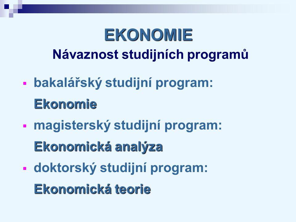 EKONOMIE EKONOMIE Uplatnění absolventů studia  Analytičtí pracovníci ve firemním a finančním sektoru, ve vrcholné státní správě  Výzkumní pracovníci v univerzitním prostředí  V navazujícím magisterském studiu