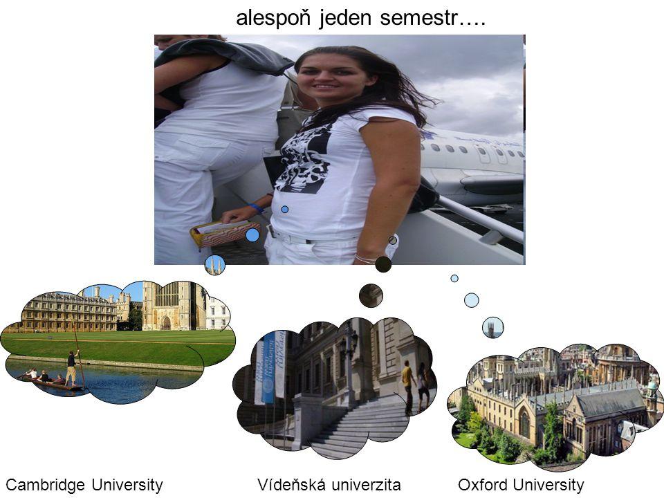 alespoň jeden semestr…. Cambridge UniversityOxford UniversityVídeňská univerzita