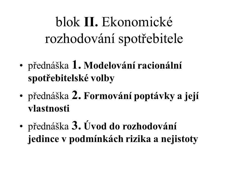 blok II.Ekonomické rozhodování spotřebitele přednáška 1.