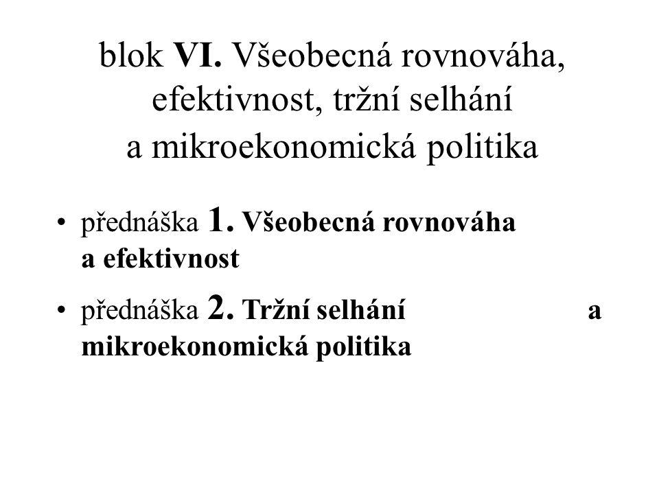 blok VI.Všeobecná rovnováha, efektivnost, tržní selhání a mikroekonomická politika přednáška 1.
