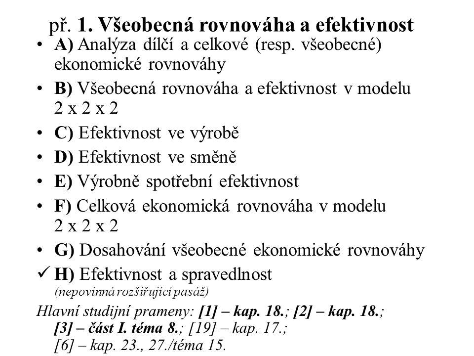př.1. Všeobecná rovnováha a efektivnost A) Analýza dílčí a celkové (resp.