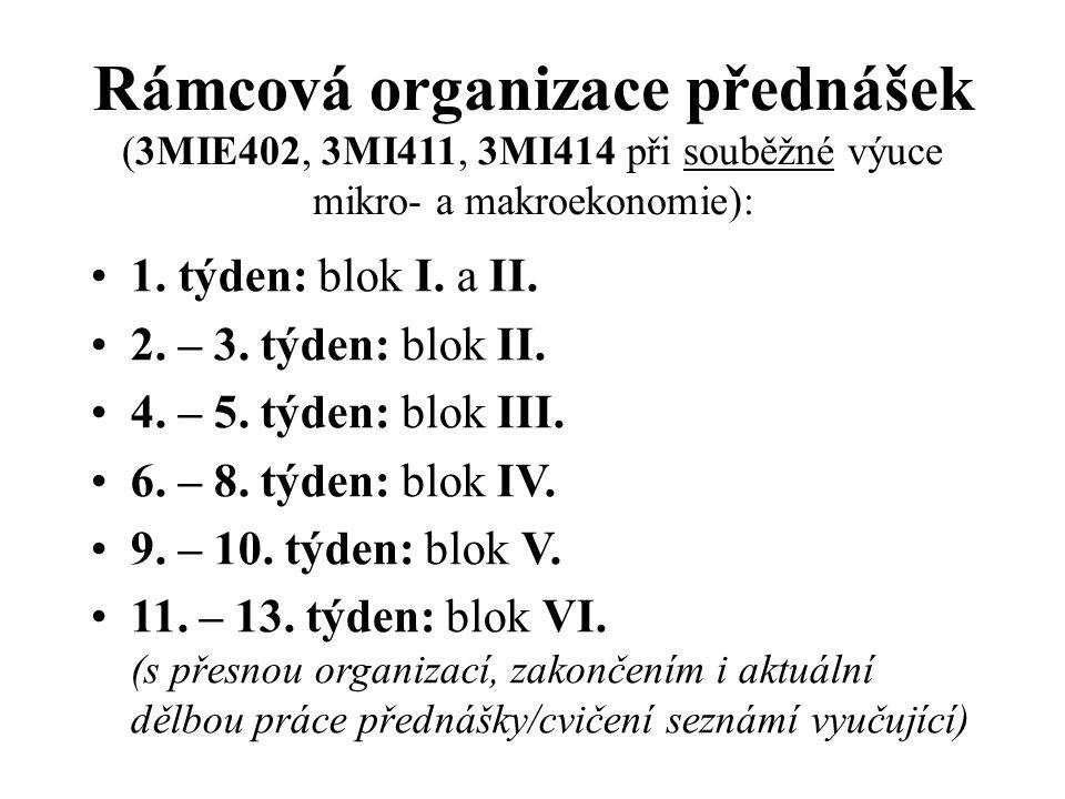 Rámcová organizace přednášek (3MIE402, 3MI411, 3MI414 při souběžné výuce mikro- a makroekonomie): 1.