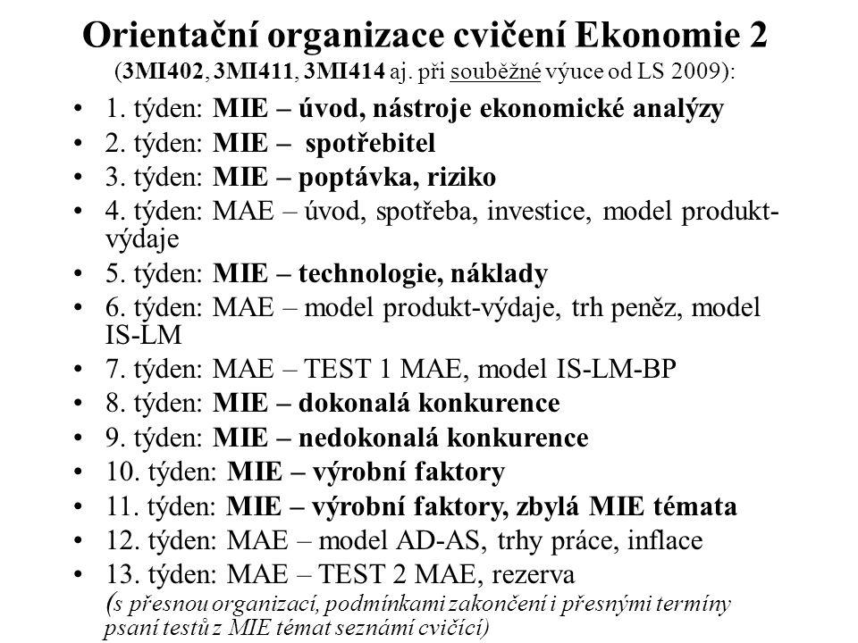 Rámcová organizace přednášek (3MIE402, 3MI411, 3MI414 při blokové výuce mikro- a makroekonomie): 1.