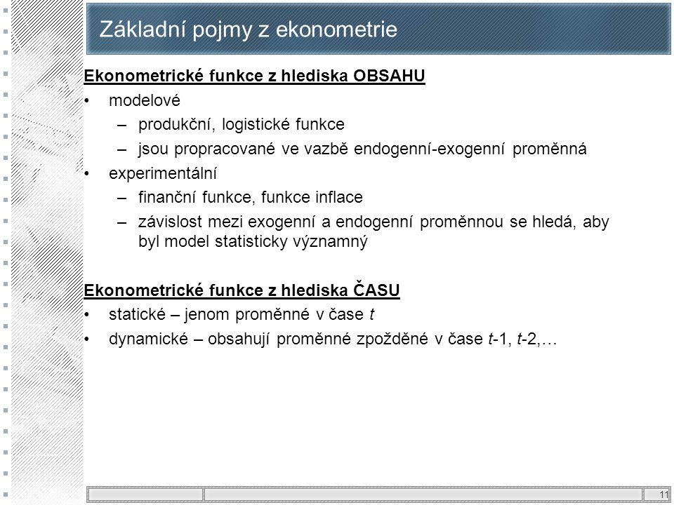 11 Základní pojmy z ekonometrie Ekonometrické funkce z hlediska OBSAHU modelové –produkční, logistické funkce –jsou propracované ve vazbě endogenní-ex