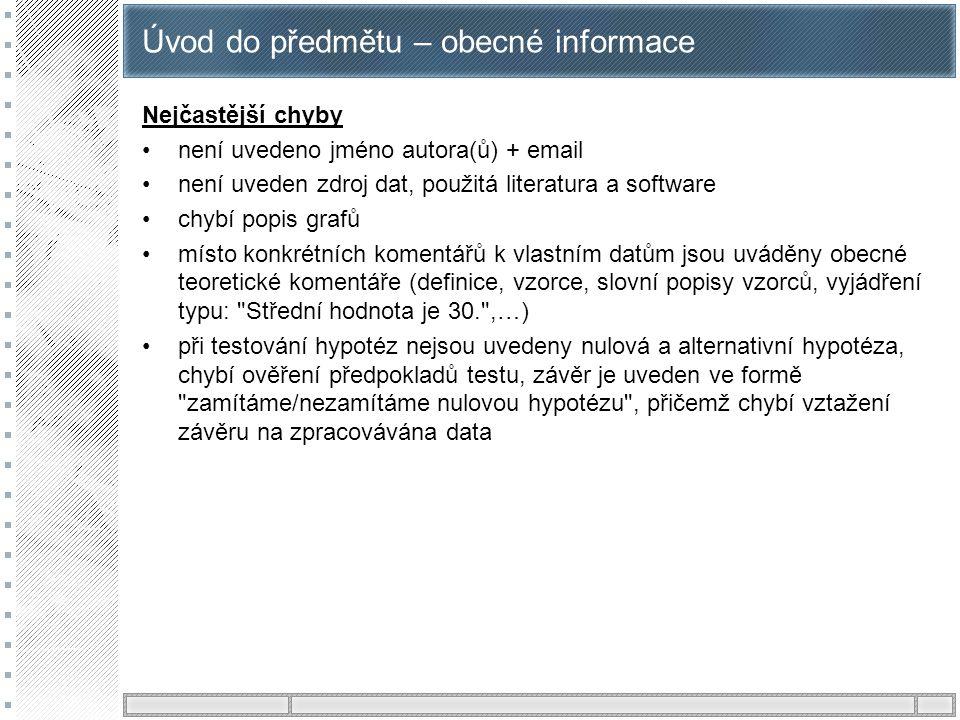 Úvod do předmětu – obecné informace Nejčastější chyby není uvedeno jméno autora(ů) + email není uveden zdroj dat, použitá literatura a software chybí
