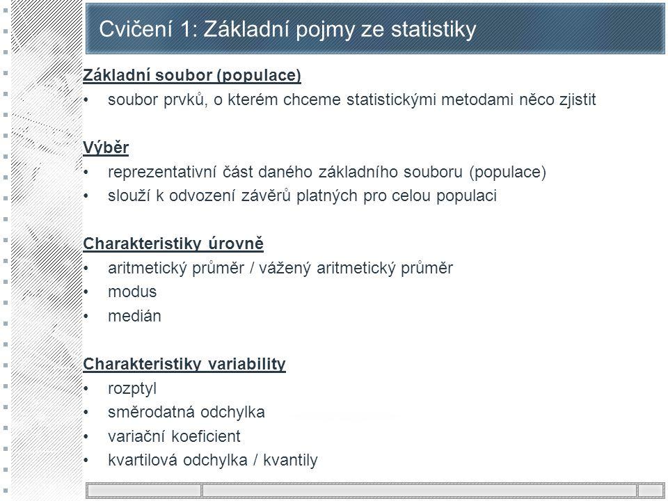 Cvičení 1: Základní pojmy ze statistiky Základní soubor (populace) soubor prvků, o kterém chceme statistickými metodami něco zjistit Výběr reprezentat