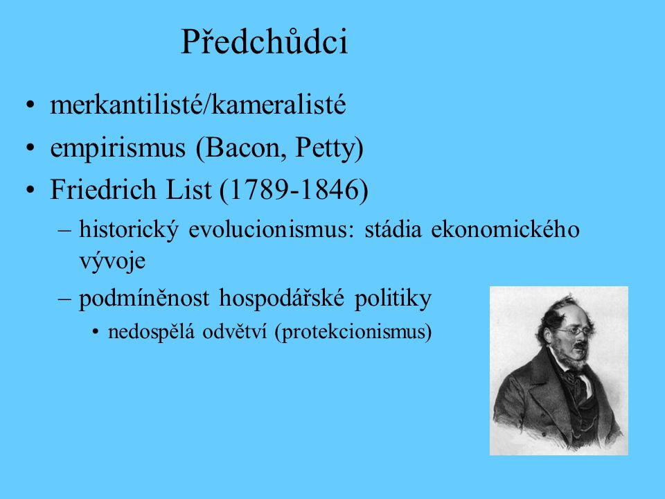 Předchůdci merkantilisté/kameralisté empirismus (Bacon, Petty) Friedrich List (1789-1846) –historický evolucionismus: stádia ekonomického vývoje –podmíněnost hospodářské politiky nedospělá odvětví (protekcionismus)