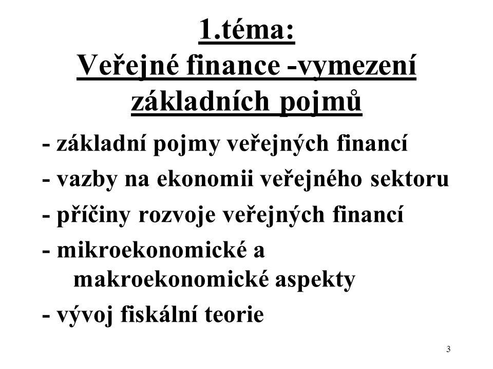 3 1.téma: Veřejné finance -vymezení základních pojmů - základní pojmy veřejných financí - vazby na ekonomii veřejného sektoru - příčiny rozvoje veřejných financí - mikroekonomické a makroekonomické aspekty - vývoj fiskální teorie