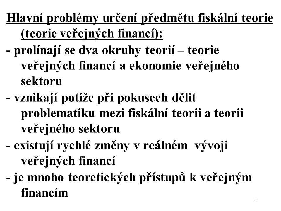 4 Hlavní problémy určení předmětu fiskální teorie (teorie veřejných financí): - prolínají se dva okruhy teorií – teorie veřejných financí a ekonomie veřejného sektoru - vznikají potíže při pokusech dělit problematiku mezi fiskální teorii a teorii veřejného sektoru - existují rychlé změny v reálném vývoji veřejných financí - je mnoho teoretických přístupů k veřejným financím