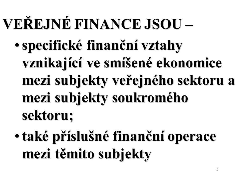 5 VEŘEJNÉ FINANCE JSOU – specifické finanční vztahy vznikající ve smíšené ekonomice mezi subjekty veřejného sektoru a mezi subjekty soukromého sektoru;specifické finanční vztahy vznikající ve smíšené ekonomice mezi subjekty veřejného sektoru a mezi subjekty soukromého sektoru; také příslušné finanční operace mezi těmito subjektytaké příslušné finanční operace mezi těmito subjekty