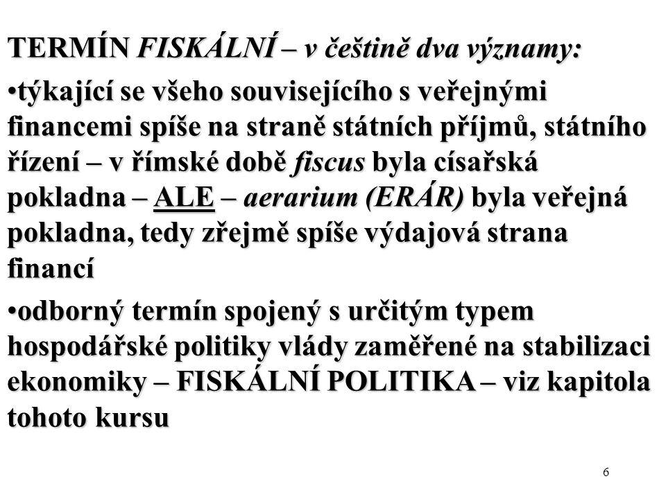 6 TERMÍN FISKÁLNÍ – v češtině dva významy: týkající se všeho souvisejícího s veřejnými financemi spíše na straně státních příjmů, státního řízení – v římské době fiscus byla císařská pokladna – ALE – aerarium (ERÁR) byla veřejná pokladna, tedy zřejmě spíše výdajová strana financítýkající se všeho souvisejícího s veřejnými financemi spíše na straně státních příjmů, státního řízení – v římské době fiscus byla císařská pokladna – ALE – aerarium (ERÁR) byla veřejná pokladna, tedy zřejmě spíše výdajová strana financí odborný termín spojený s určitým typem hospodářské politiky vlády zaměřené na stabilizaci ekonomiky – FISKÁLNÍ POLITIKA – viz kapitola tohoto kursuodborný termín spojený s určitým typem hospodářské politiky vlády zaměřené na stabilizaci ekonomiky – FISKÁLNÍ POLITIKA – viz kapitola tohoto kursu