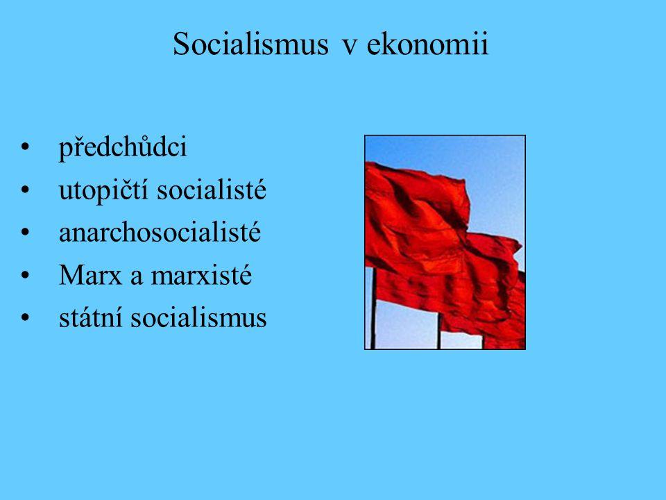 předchůdci utopičtí socialisté anarchosocialisté Marx a marxisté státní socialismus Socialismus v ekonomii