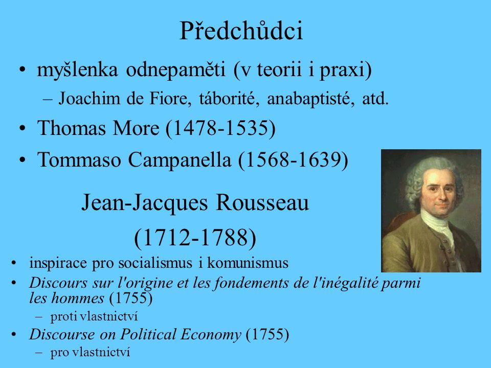 Jean-Jacques Rousseau (1712-1788) inspirace pro socialismus i komunismus Discours sur l origine et les fondements de l inégalité parmi les hommes (1755) –proti vlastnictví Discourse on Political Economy (1755) –pro vlastnictví Předchůdci myšlenka odnepaměti (v teorii i praxi) –Joachim de Fiore, táborité, anabaptisté, atd.