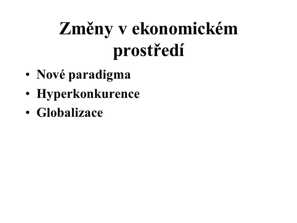 Změny v ekonomickém prostředí Nové paradigma Hyperkonkurence Globalizace