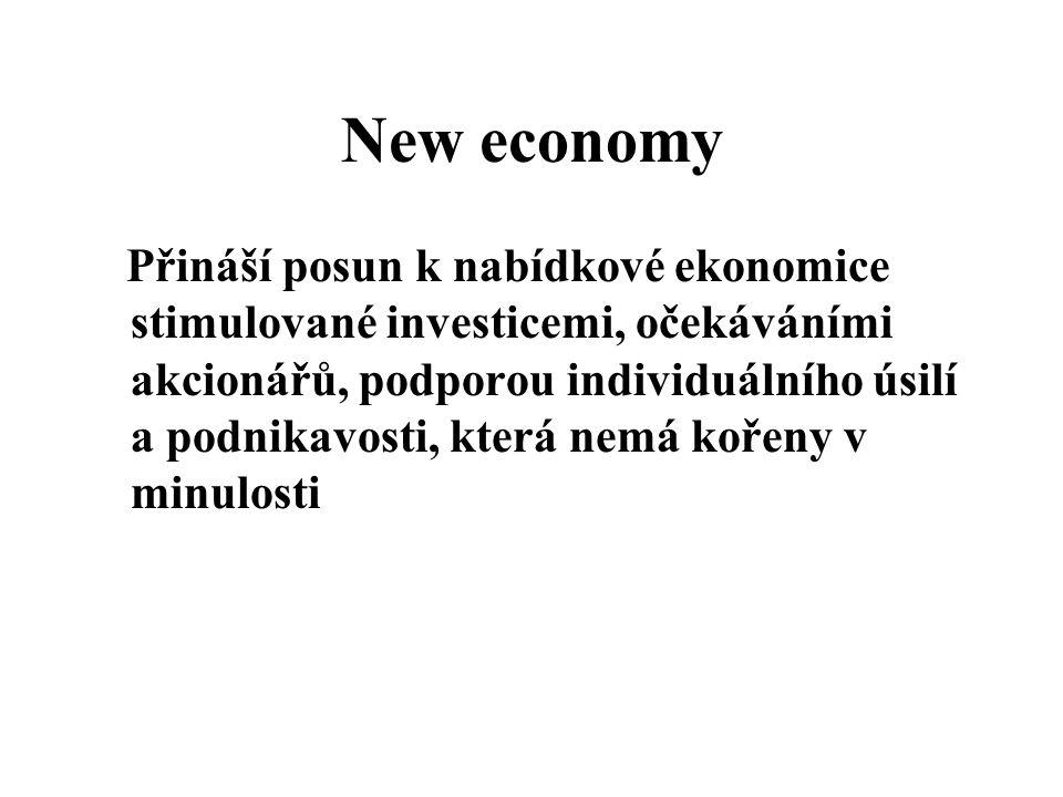 New economy Přináší posun k nabídkové ekonomice stimulované investicemi, očekáváními akcionářů, podporou individuálního úsilí a podnikavosti, která ne