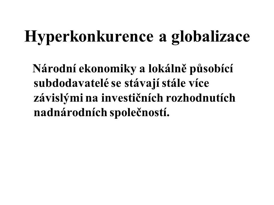 Hyperkonkurence a globalizace Národní ekonomiky a lokálně působící subdodavatelé se stávají stále více závislými na investičních rozhodnutích nadnárod