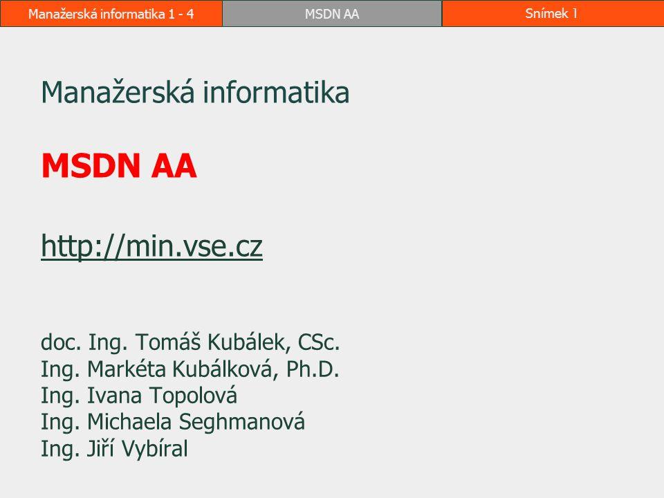 MSDN AASnímek 2Manažerská informatika 1 - 4 Kde nalézt návod Formou této prezentace v e-learningu Další návody jsou přímo na webu systému http://msdn62.e-academy.com/vsevp_business  v horní liště Help