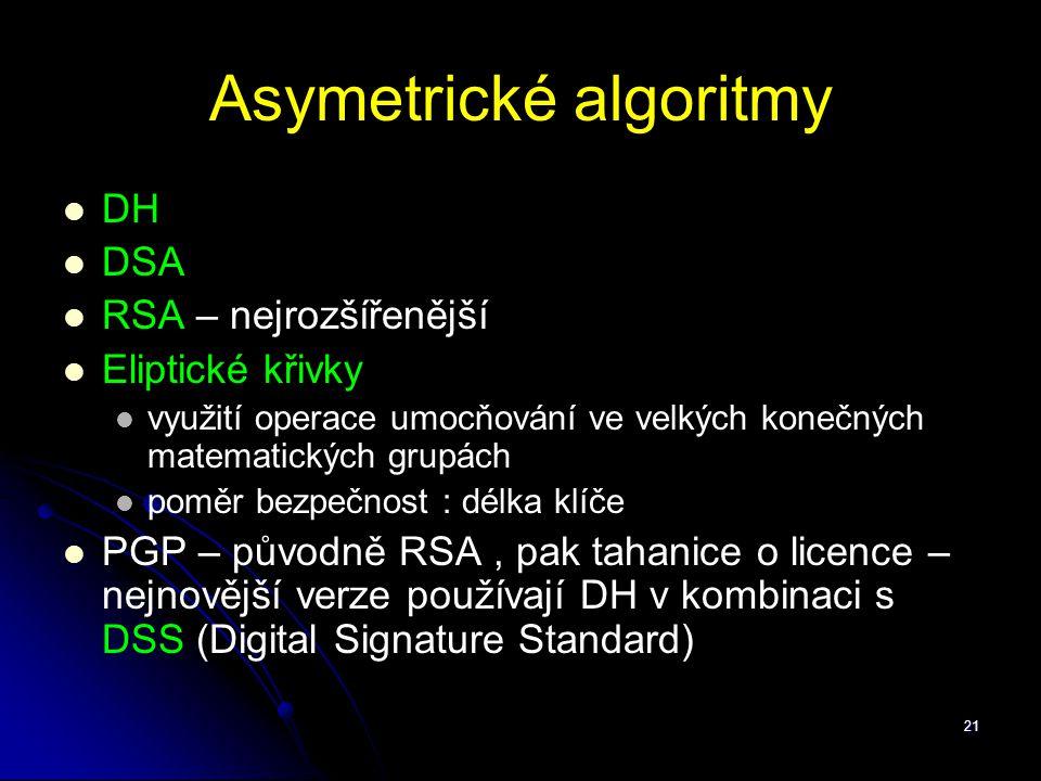 21 Asymetrické algoritmy DH DSA RSA – nejrozšířenější Eliptické křivky využití operace umocňování ve velkých konečných matematických grupách poměr bez