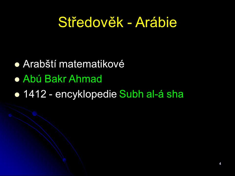 4 Středověk - Arábie Arabští matematikové Abú Bakr Ahmad 1412 - encyklopedie Subh al-á sha
