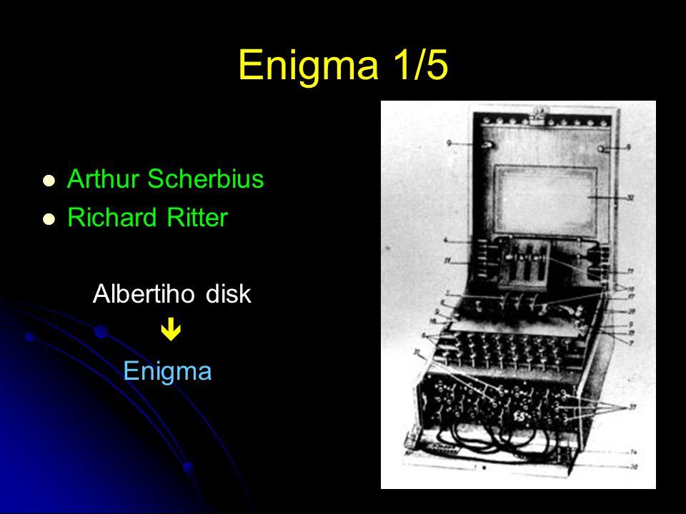8 Enigma 2/5 Obchodní verze Vojenská verze Cena asi 20 000 £ Němci věřili, že Enigma není potřeba 1923 – W.