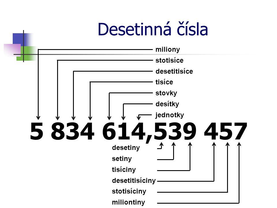 Čtení desetinných čísel Přečti číslo: 519,008 4 Nejdříve přečteme přirozené číslo před desetinnou čárkou pět set devatenáct Doplníme správný tvar slova celý (celá, celé, celých) Přečteme číslo za desetinnou čárkou osmdesát čtyři Určíme řád poslední číslice desetitisíciny celých Pět set devatenáctcelých osmdesát čtyřidesetitisíciny