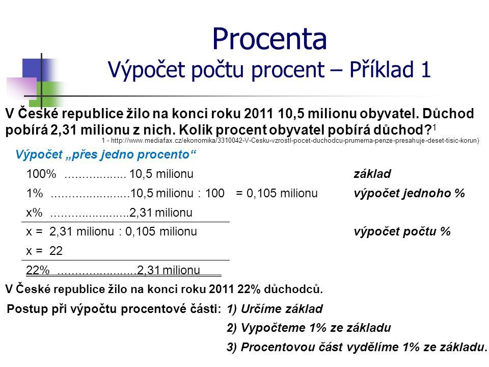 Procenta Výpočet počtu procent – Příklad 1 V České republice žilo na konci roku 2011 10,5 milionu obyvatel. Důchod pobírá 2,31 milionu z nich. Kolik p