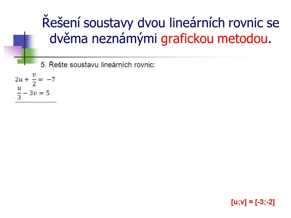 Řešení soustavy dvou lineárních rovnic se dvěma neznámými grafickou metodou. 5. Řešte soustavu lineárních rovnic: [u;v] = [-3;-2]