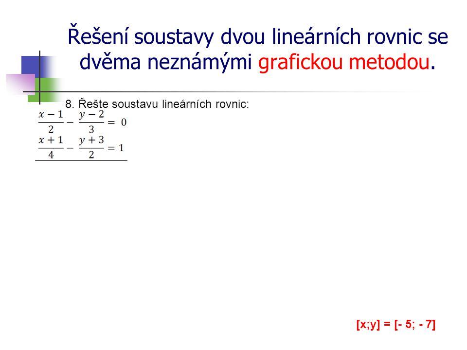 Řešení soustavy dvou lineárních rovnic se dvěma neznámými grafickou metodou. 8. Řešte soustavu lineárních rovnic: [x;y] = [- 5; - 7]