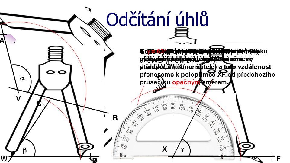 Odčítání úhlů A B V  Graficky (konstrukcí) odečtěte oba úhly. C W D  X F E 1. Sestrojíme polopřímku XF2. Sestrojíme obloučky libovolného (ne příliš