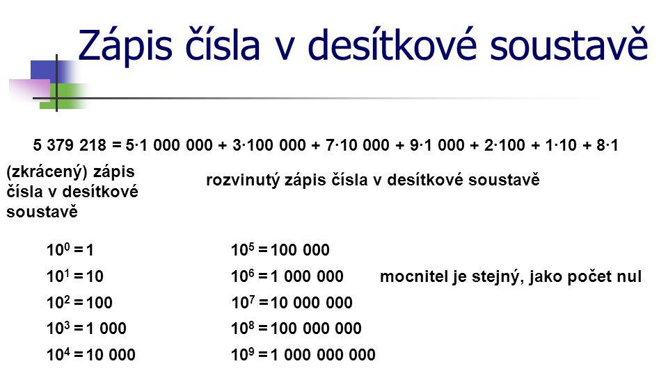 Zápis čísla v desítkové soustavě (zkrácený) zápis čísla v desítkové soustavě rozvinutý zápis čísla v desítkové soustavě 5 379 218=5·1 000 000 + 3·100