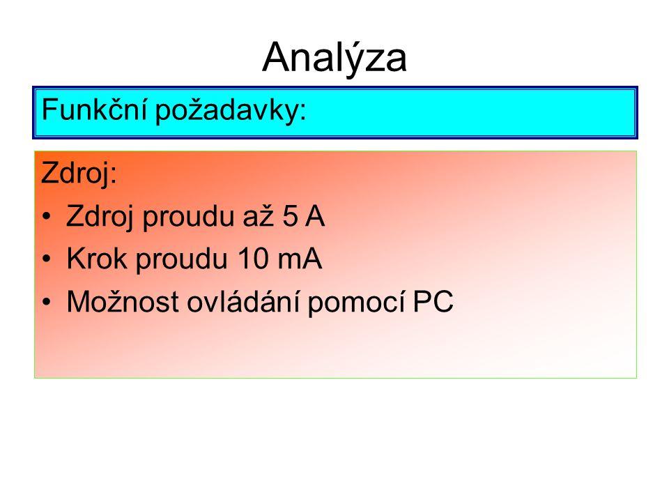 Analýza Funkční požadavky: Zdroj: Zdroj proudu až 5 A Krok proudu 10 mA Možnost ovládání pomocí PC