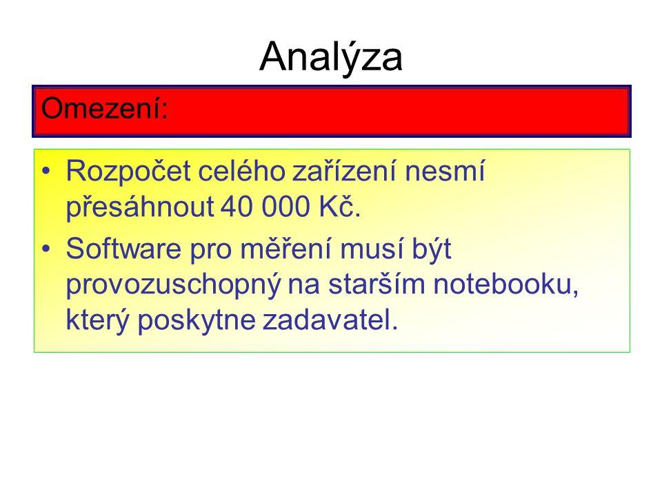 Analýza Omezení: Rozpočet celého zařízení nesmí přesáhnout 40 000 Kč. Software pro měření musí být provozuschopný na starším notebooku, který poskytne