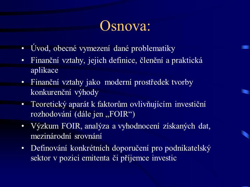 """Téma: """"Finanční vztahy a faktory ovlivňující investiční rozhodování."""""""